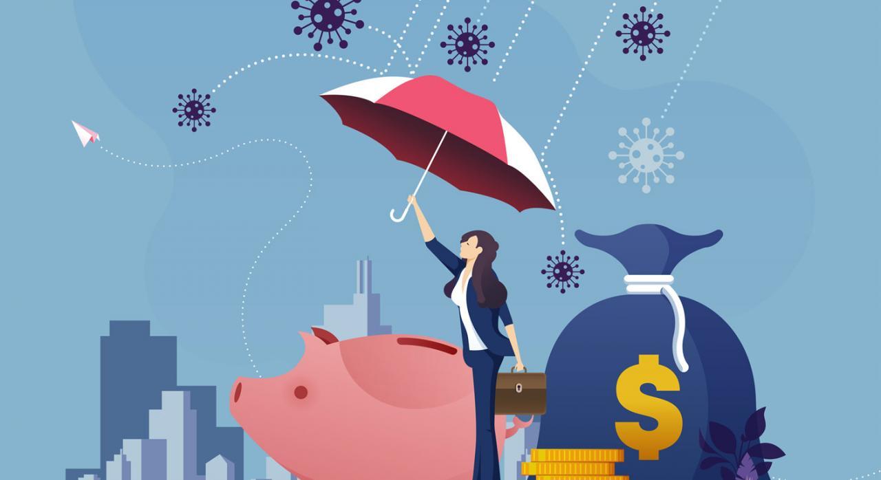 Nuevas medidas fiscales en Bizkaia. Figura de mujer con paraguas protegiendo una hucha y un saco de dinero del ataque del coronavirus