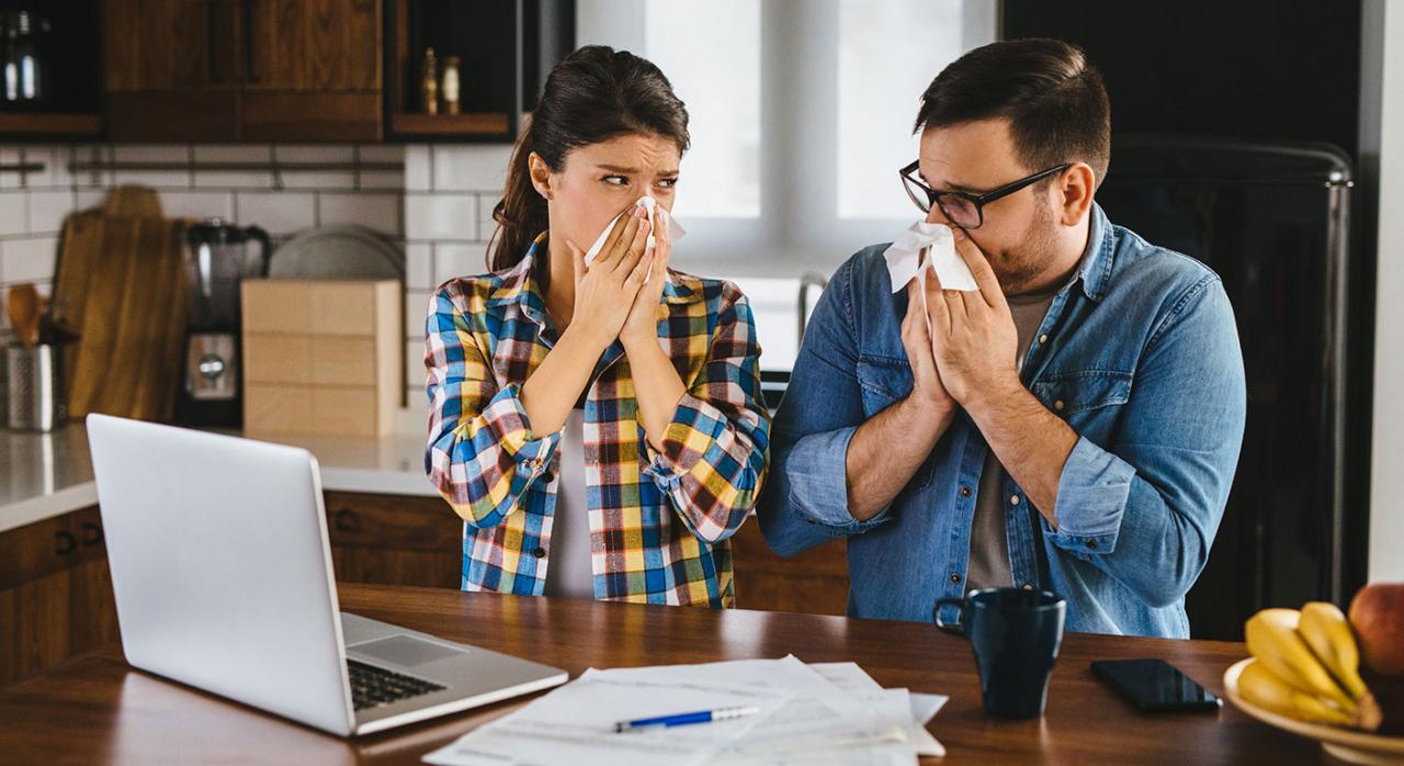Medidas fiscales anticoronavirus. Imagen de una pareja en su casa con el ordenador sonandose la nariz