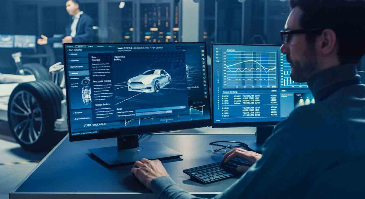 Medidas fiscales en materia del Impuesto sobre Sociedades. Ingeniero diseñando un coche frente a un ordenador