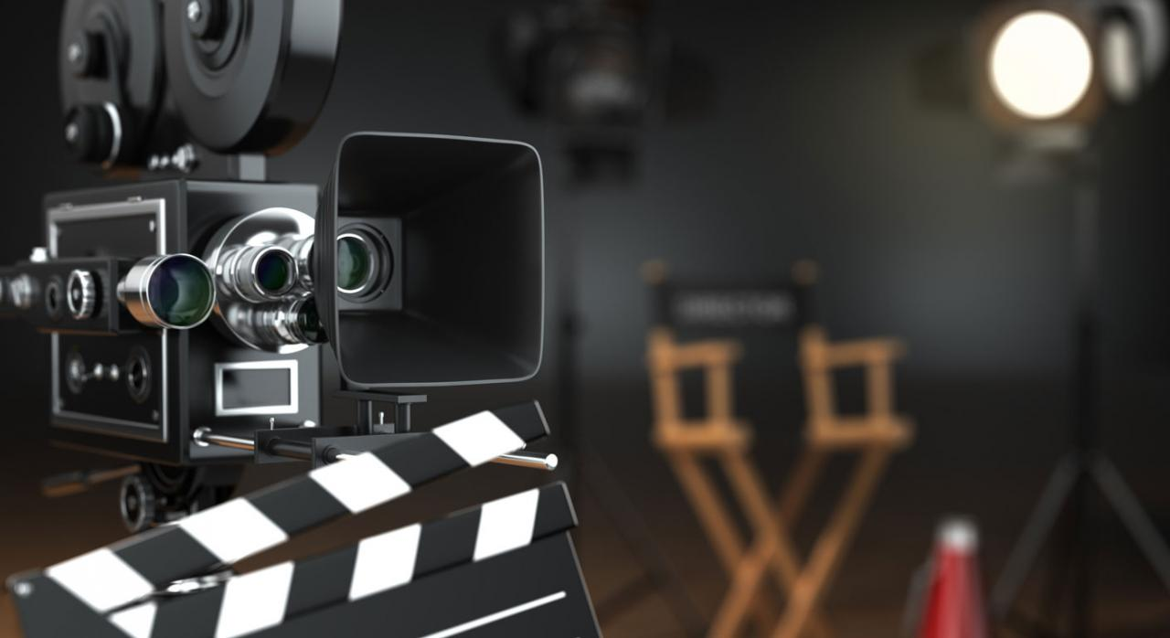 COVID-19: medidas tributarias de apoyo al sector cultural. Imagen concepto cine, con cámara, silla y claqueta