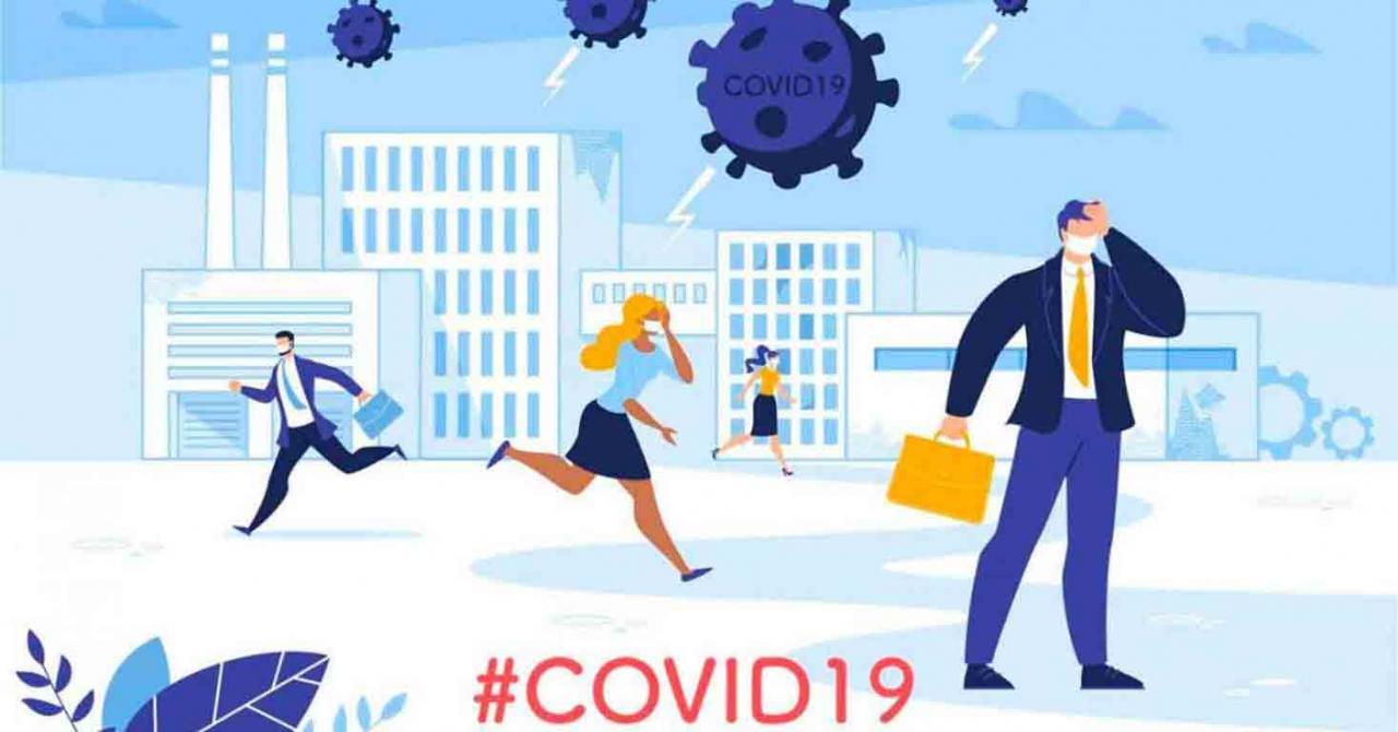 Álava aprueba nuevas medidas tributarias para luchar contra el COVID-19. Imagen de unos empresarios corriendo con el hastag COVID19