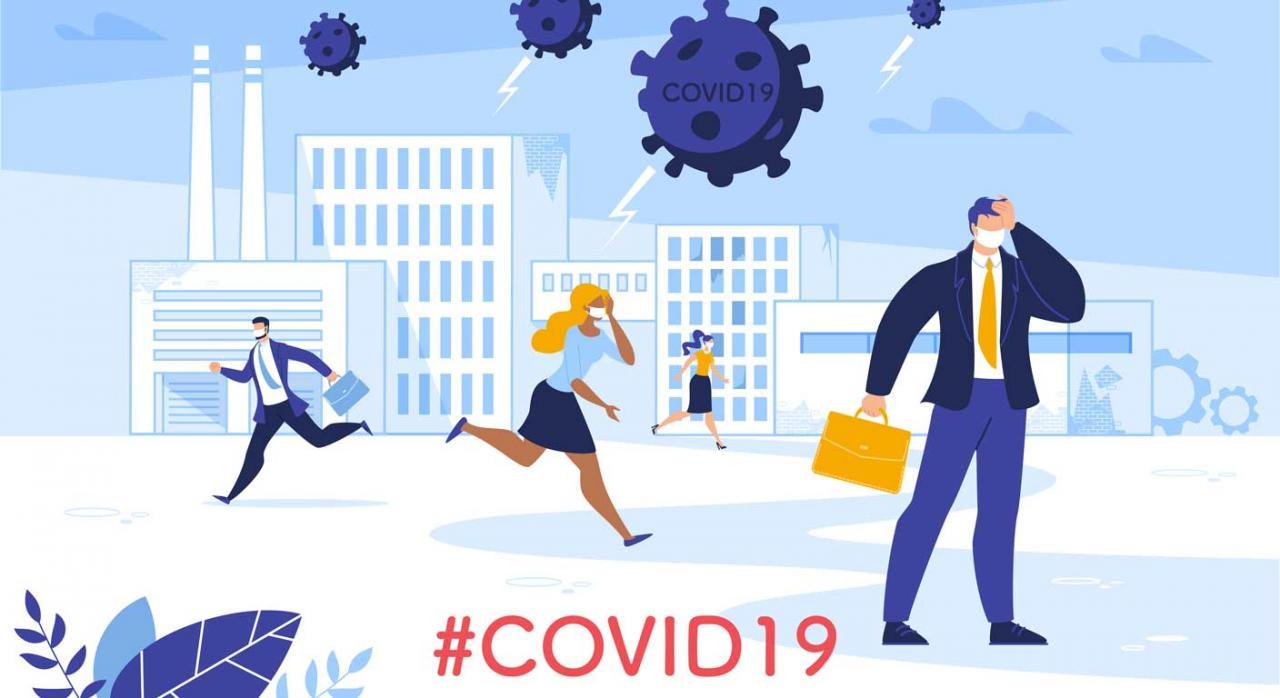 Nuevas medidas tributarias. Ilustración empresarios corriendo mientras son atacados por virus del COVID