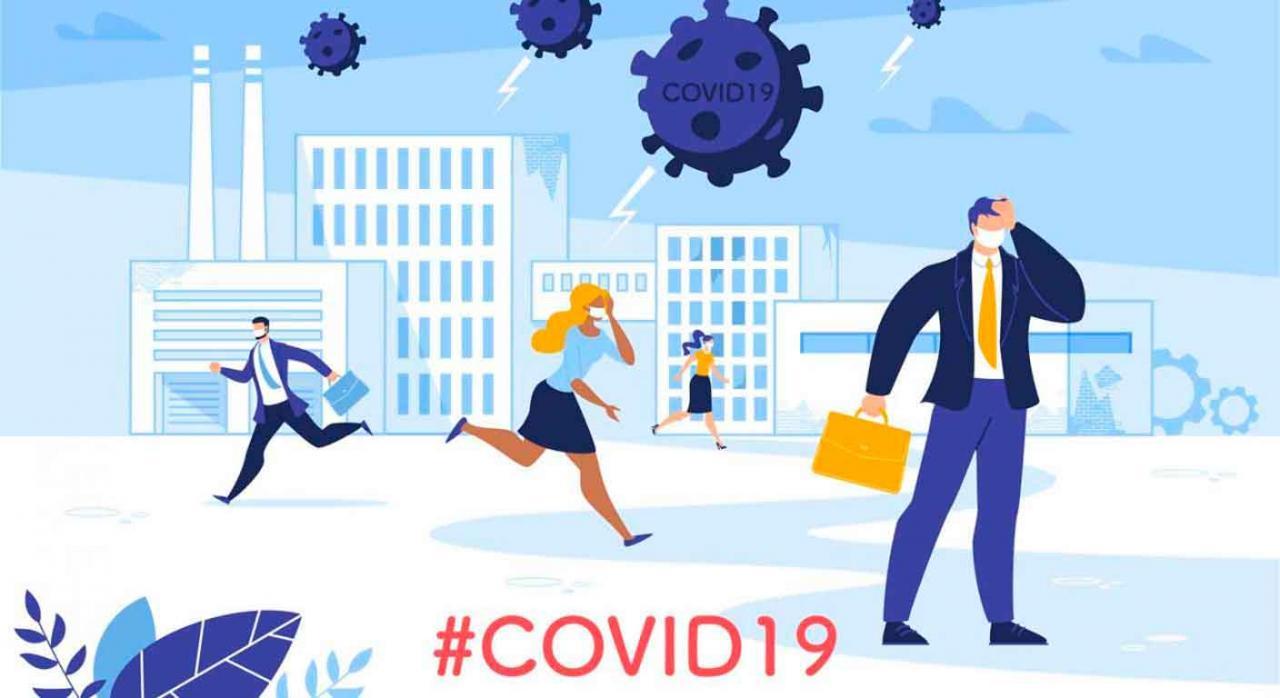 Alava, medidas tributarias de reajuste, IRPF, ISD, ITP y AJD, COVID-19. Gente corriendo con mascarillas en todas direcciones por efecto del Covid-19