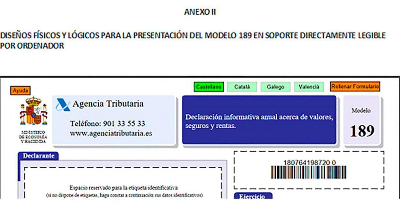 Modelo 189: Actualización de los diseños de registro. Imagen del modelo 189