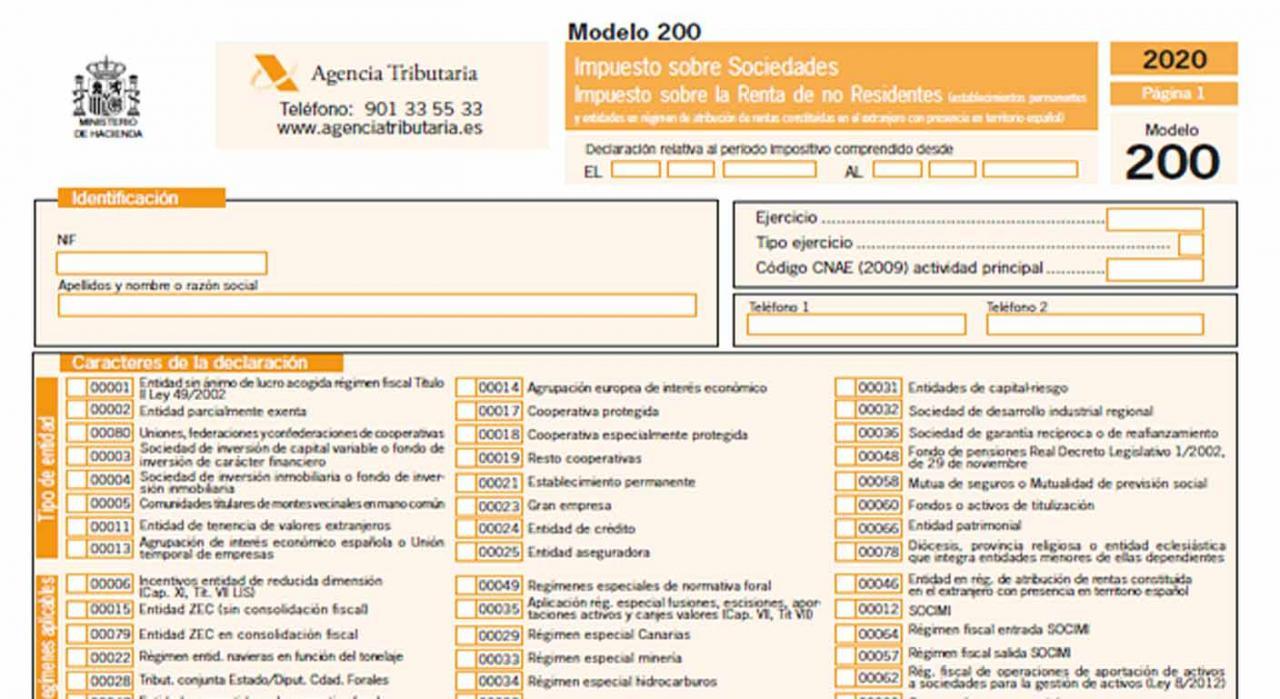 Proyecto de orden por la que se aprueban los modelos del IS y del IRNR para establecimientos permanentes y entidades en régimen de atribución de rentas. Imagen de formulario del Modelo 200 de la Agencia Triburaria