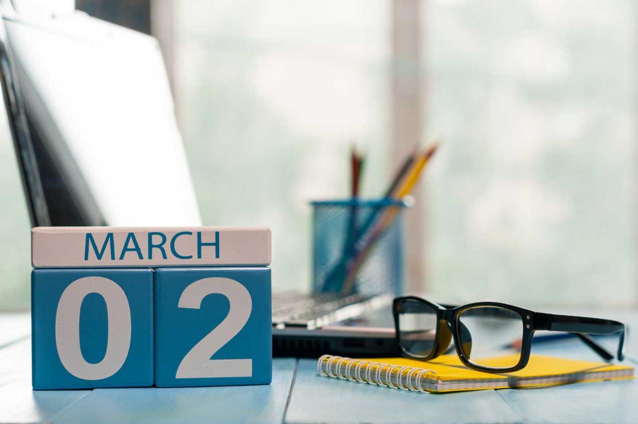 Modelo 347. Imagen de un calendario señalando el 2 de marzo