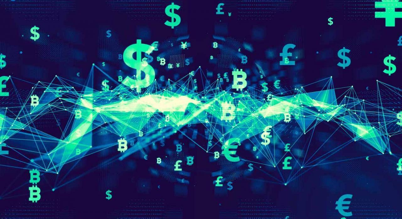 Modelo 604 del Impuesto sobre Transacciones Financieras. Imagen de una cadena de bloque con símbolos monetarios