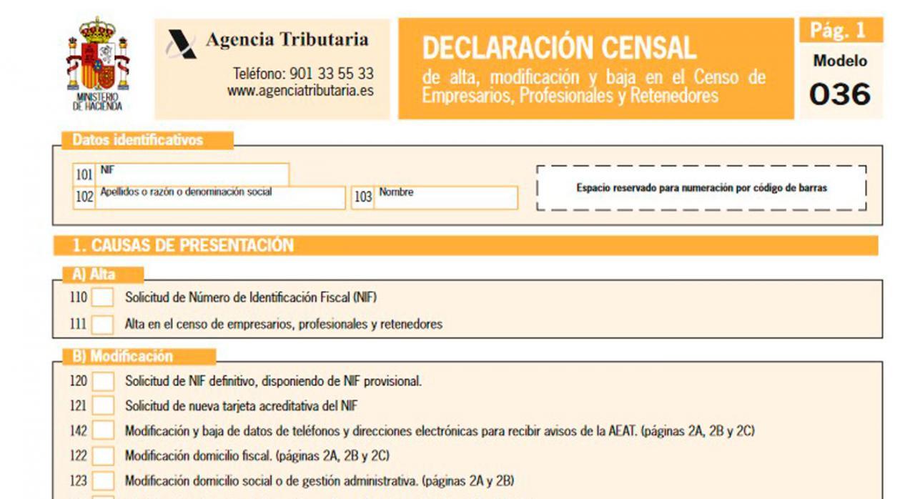 Aprobados nuevos modelos de declaraciones censales de actividades empresariales y profesionales: 036, 037 y 030. Imagen del model 036