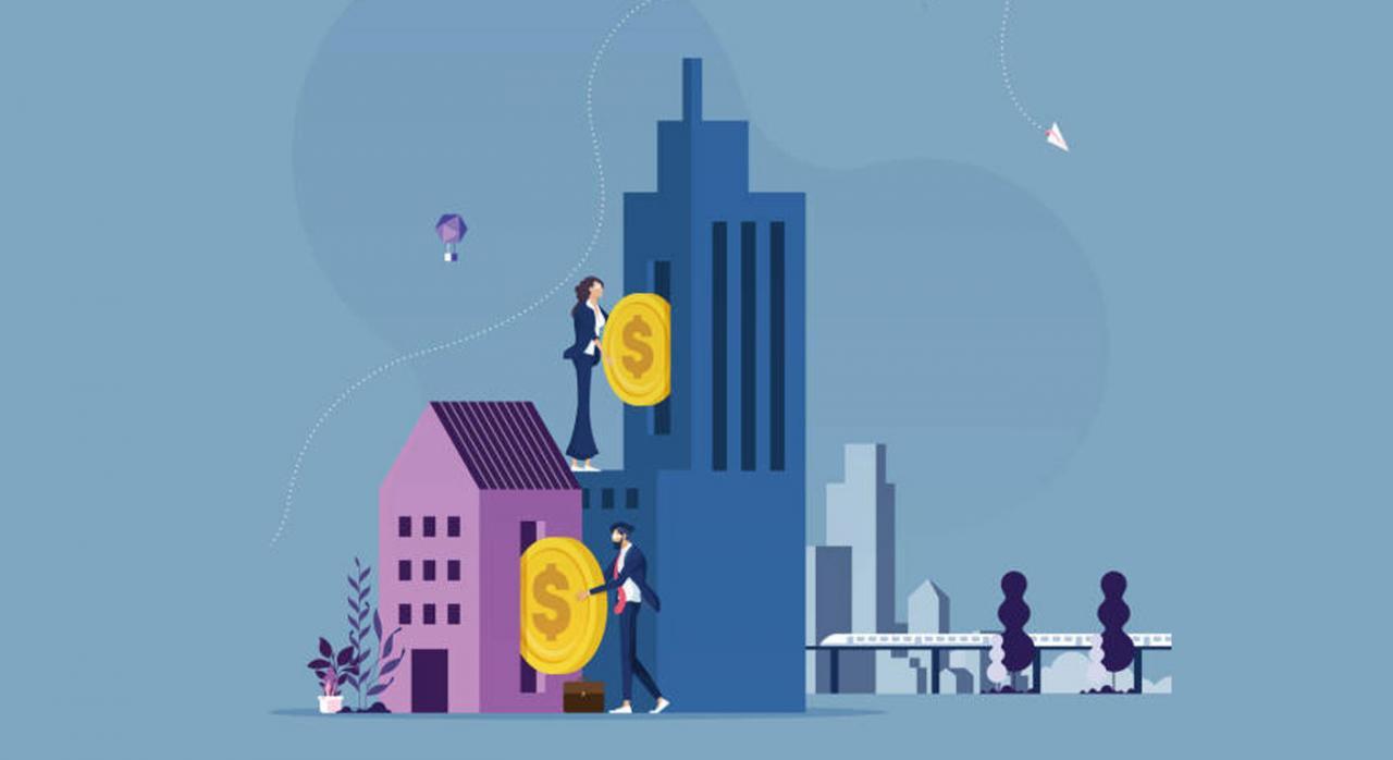 La base imponible del ITP y AJD e ISD vendrá determinada por el valor de referencia. Ilustración de personas introduciendo monedas en dos edificios a modo de hucha de distintas alturas