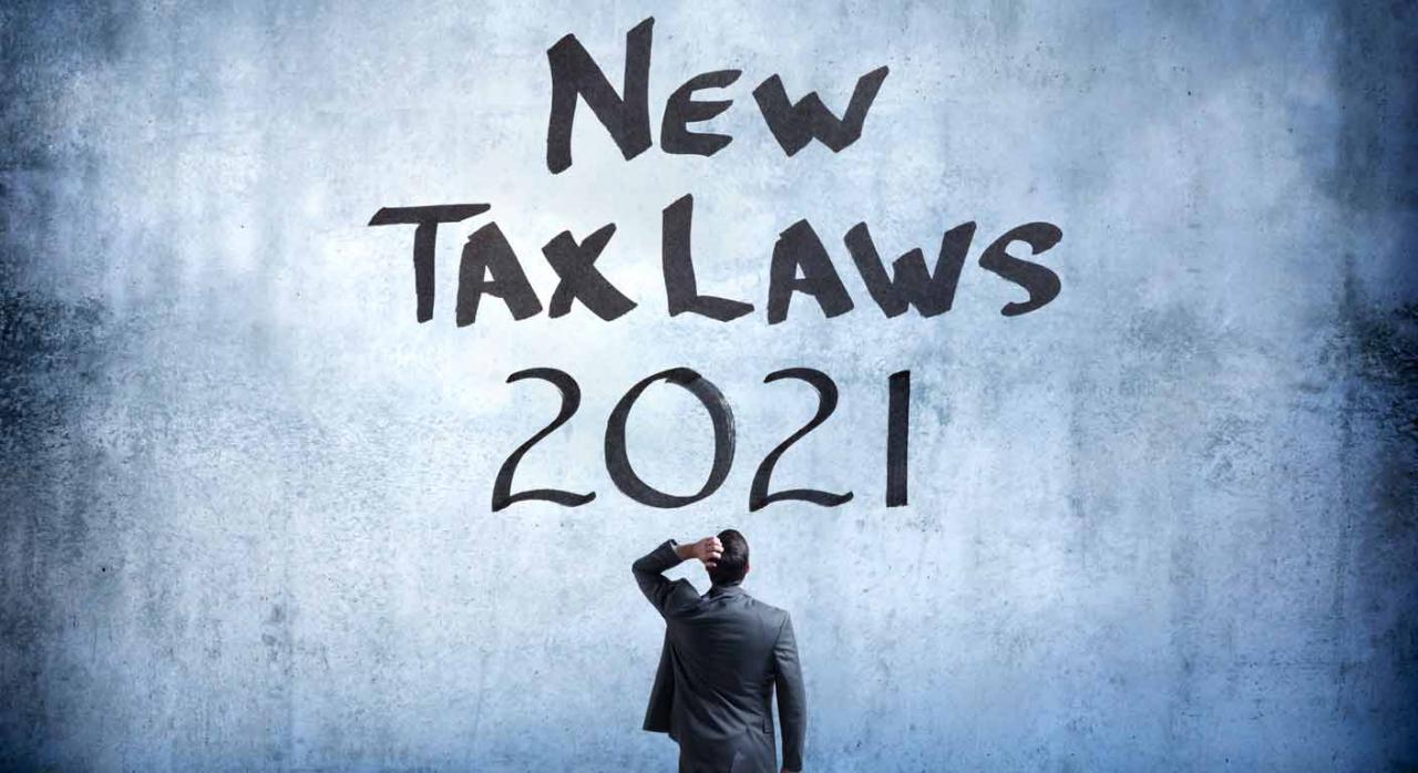 """Novedades impuestos 2021. Hombre desconcertado frente a una pared que pone """"New Taxs Laws 2021"""""""