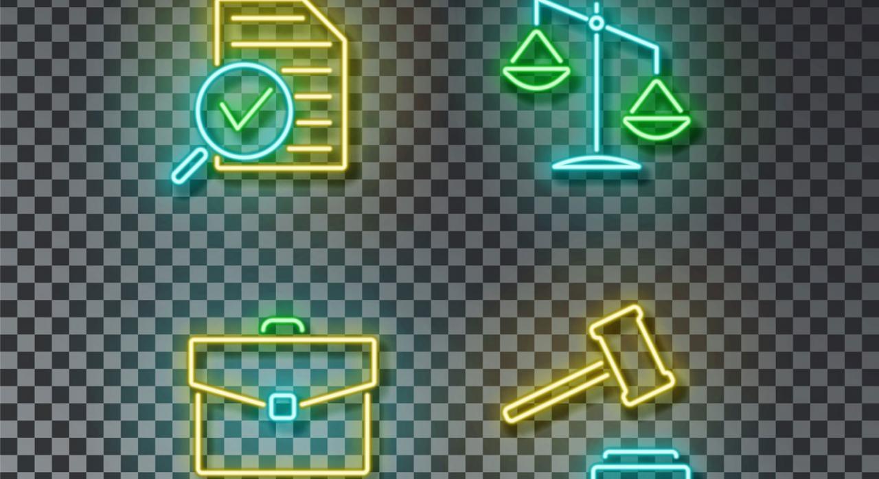 Imagen iconos de neón. Nulidad, reglamento, revisión