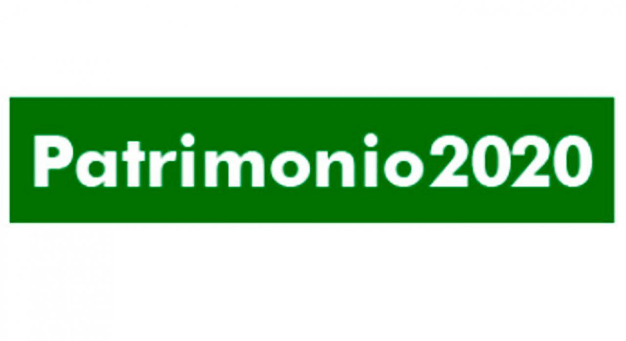 Inicio Campaña Patrimonio 2020. Patrimonio 2020 sobre un fondo verde