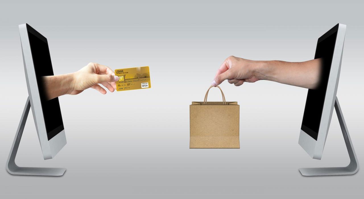 Proyecto de Ley de modificación del IVA en el Comercio electrónico. Imagen de dos monitores de los cuales emergen dos manos, una con una tarjeta de crédito y la otra con una bolsa de papel