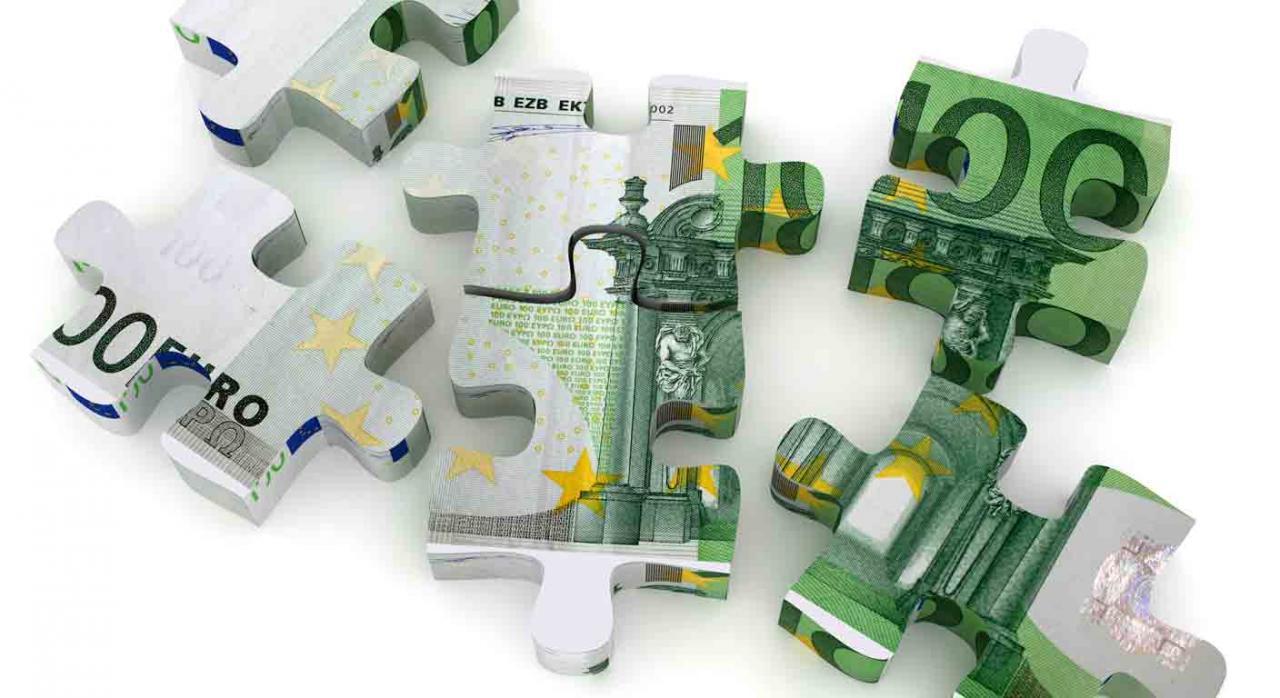 Fraccionamiento IRPF ERTE. Piezas de puzzle de euros