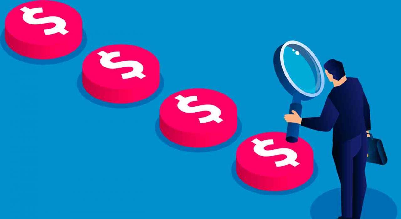 Control tributario 2021. Dibujo de un empresario con una lupa siguiendo el rastreo del dinero