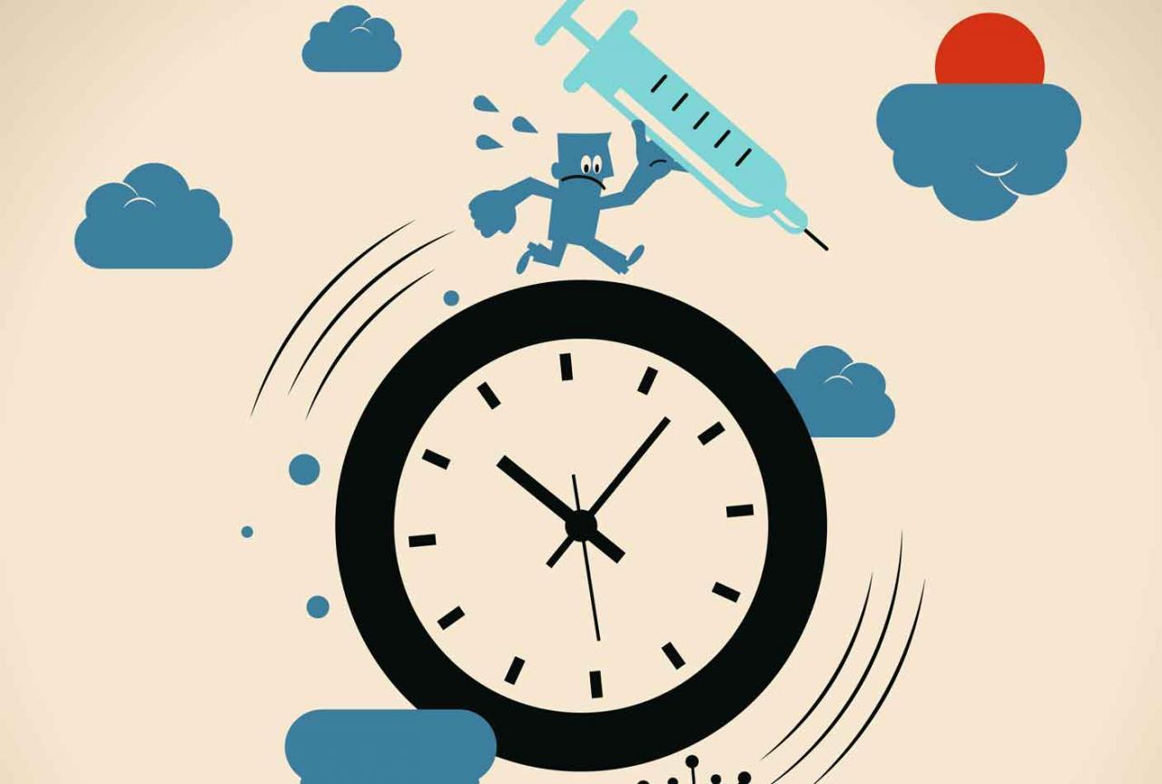 Plazo, dies a quo, recurso de reposición, IIVTNU, plusvalía , suspensión, COVID-19, estado de alarma. Dibujo de una hombre azul con una jeringa gigante corriendo alrededor de un reloj