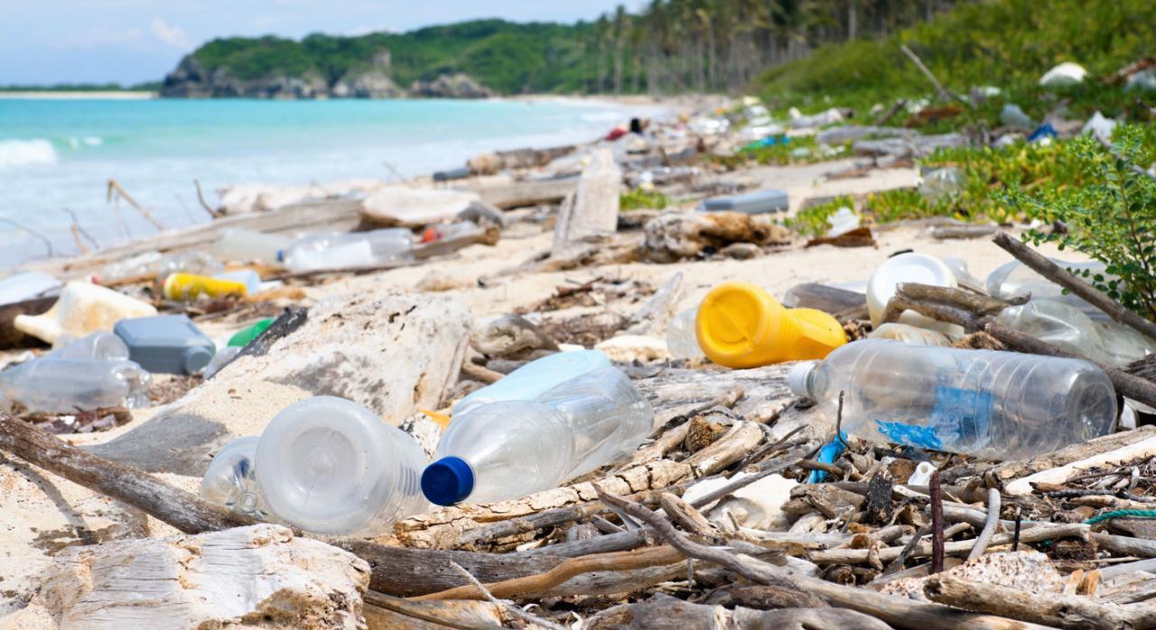 Nuevos impuestos en el Proyecto de Ley de Residuos y Suelos Contaminados. Imagen de una playa con botellas de plástico por el suelo