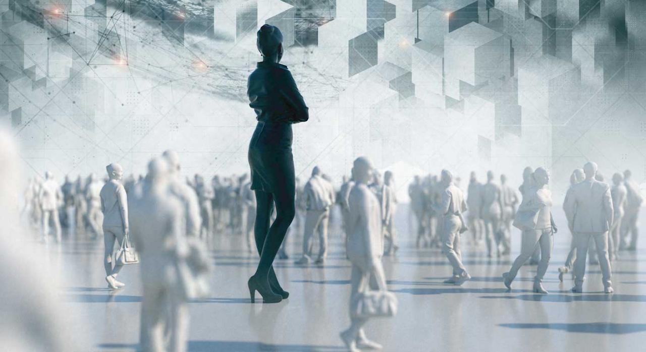 Cuotas reta deducible administrador. Siluetas en blanco de personas caminando y una mujer en el centro parada y destacada en negro en mayor tamaño
