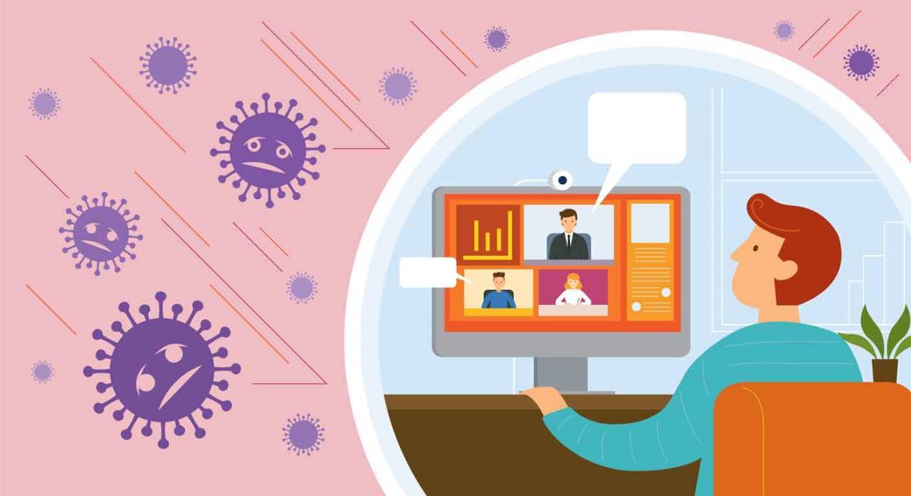 Bizkaia, actuaciones tributarias, videoconferencia, vía telemática. Dibujo de un hombre en el ordenador trabajando desde casa durante el COVID-19