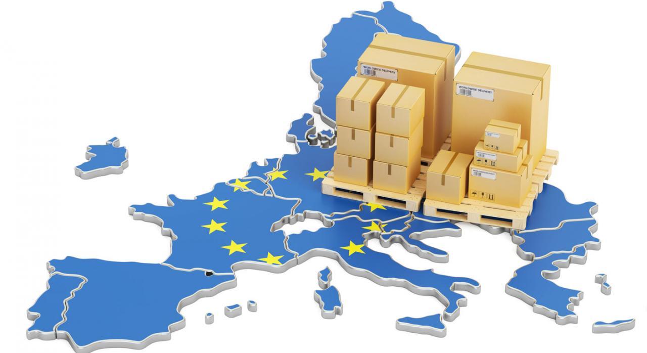 Transposición. Imagen de mapa de la Unión Europea con envíos de paquetería