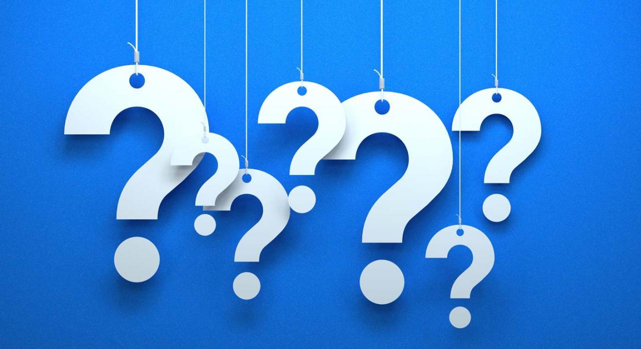 Preguntas frecuentes sobre el Valor de Referencia catastral. Imagen de varios signos de interrogación superpuestos y colgando de hilos