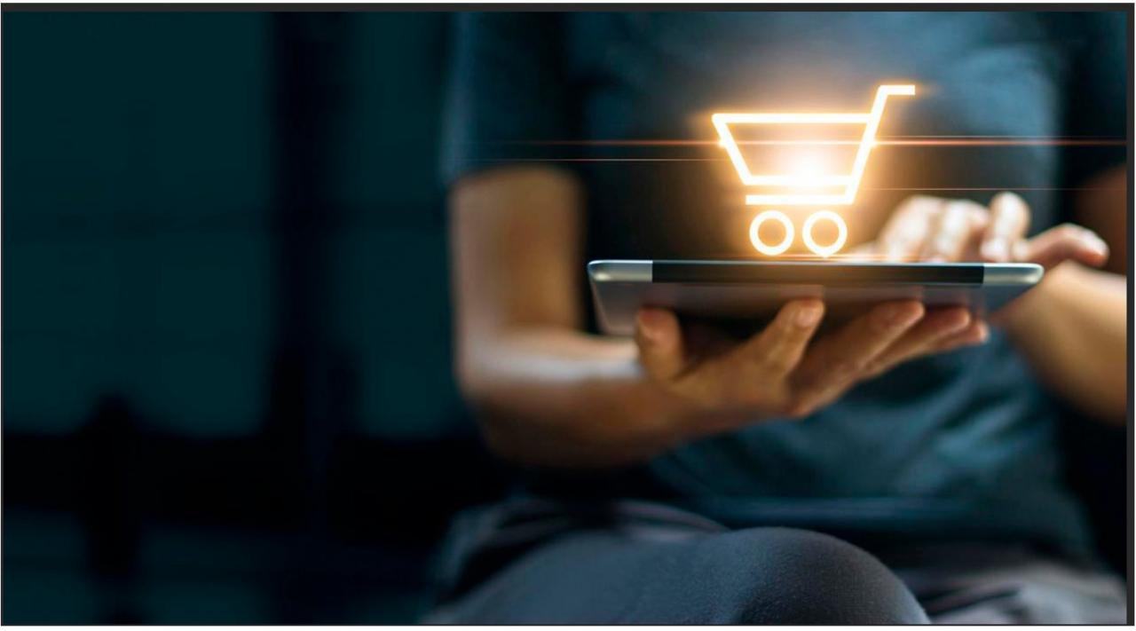 Alava, modifica, reglamento, IVA, comercio electrónico, ventas a distancia. Imagen de portátil con icono de carrito de compra online superpuesto y en las manos de una mujer